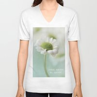 be happy V-neck T-shirts featuring Happy by Angela Fanton