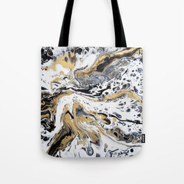 Black White and Gold Fluid Abstract Tote Bag