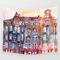 takmaj Wall Tapestries featuring Apartment House in Poznan and orange umbrellas by takmaj