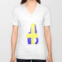 sweden V-neck T-shirts featuring We love Sweden by hannes cmarits (hannes61)