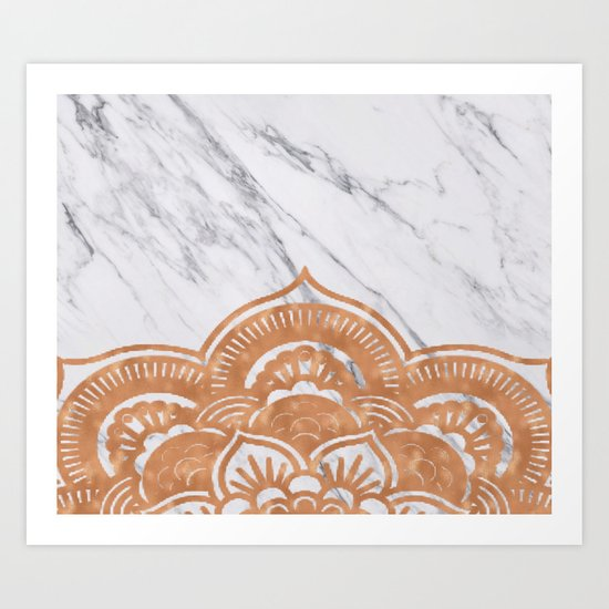 Copper mandala on marble Art Print