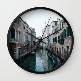 Empty boats in Venice Wall Clock