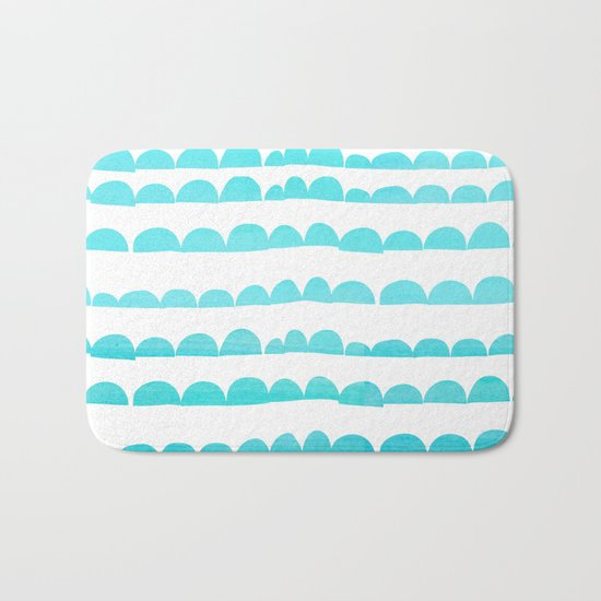 Handdrawn fun stripes pattern in turquoise on white background #Society6 Bath Mat