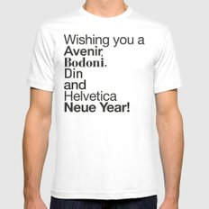 Happy Helvetica Neue Year 2014 Mens Fitted Tee MEDIUM White