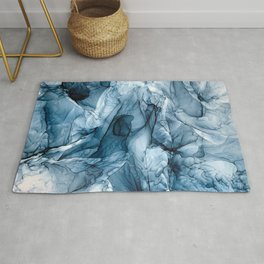 Churning Blue Ocean Waves Abstract Painting Rug