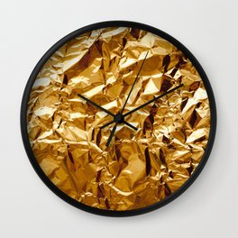 Crumpled Golden Foil Wall Clock