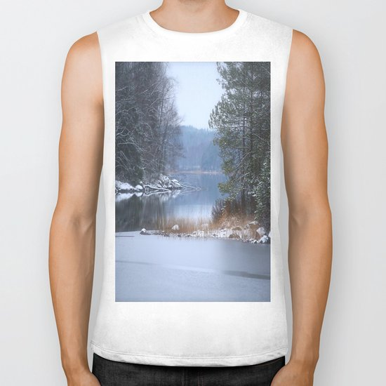 Blue Moment By The Lake  Biker Tank