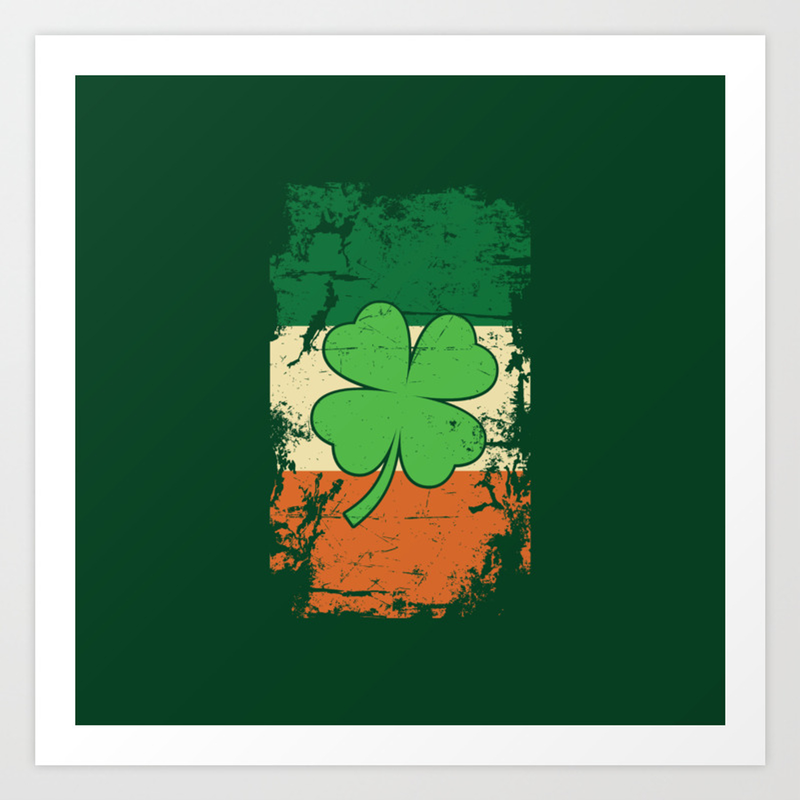Distressed Irish Flag St Patricks Shamrock Green Art Print By Studiometzger Society6