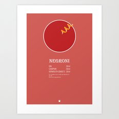 Negroni Cocktail Recipe Poster (Metric) Art Print
