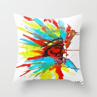 native american Throw Pillows featuring Native American by ART HOLES