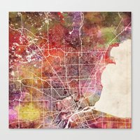 detroit Canvas Prints featuring Detroit by MapMapMaps.Watercolors