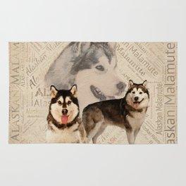 Alaskan Malamute Collage on Word Pattern Rug