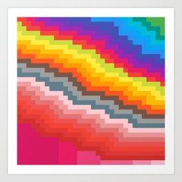 Pixel art rainbow Art Print