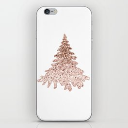 Sparkling christmas tree rose gold ombre iPhone Skin