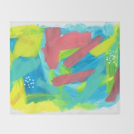 BE BRAVE, BE OK blue abstract painting mint green drawing modern art acrylic summer ocean Throw Blanket