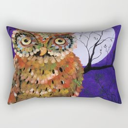 Owl, Owl Painting, Moon, Night Sky, Purple, by Faye Rectangular Pillow