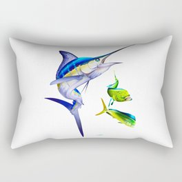 White Marlin Chasing Dolphin Fish Rectangular Pillow
