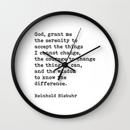 Serenity Prayer, Grant Me The Courage, Motivational Quote Wall Clock