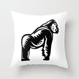 Silverback Gorilla Side View Woodcut Throw Pillow