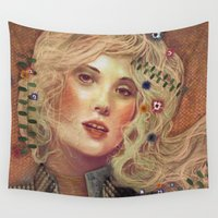 klimt Wall Tapestries featuring klimt by Galvanise The Dog