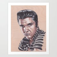 elvis presley Art Prints featuring Elvis Presley by bdevennyart