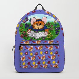 Hammy reading in a Meadow (purple) Backpack