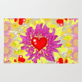 Red Hearts Valentines & Pink Flowers Art Patterns Rug