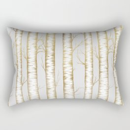Metallic Birch Trees Rectangular Pillow