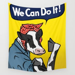 We can do it! Rosie the Riveter Vegan Cow Wall Tapestry
