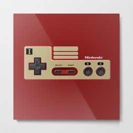 Classic retro Red Gold game controller iPhone 4 5 6 7 8, tshirt, mugs and pillow case Metal Print