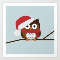 Christmas Owl Art Print