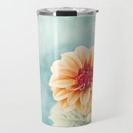 Aqua Orange Dahlia Flower Photography, Turquoise Teal Peach Nature Art Travel Mug