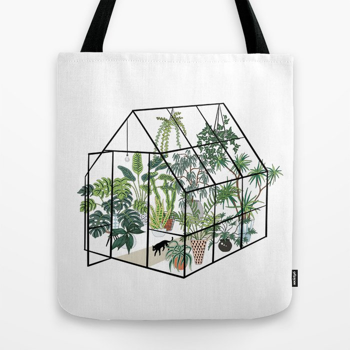 greenhouse with plants Tote Bag