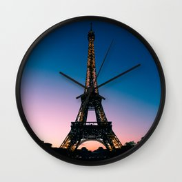 Eiffel Tower at Sunset Wall Clock
