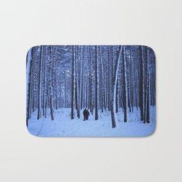 Winter pine forest in blue. Bath Mat