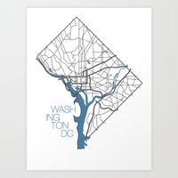 washington dc Art Prints featuring Washington, DC by linnydrez