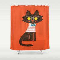preppy Shower Curtains featuring Fitz - Preppy cat by Picomodi