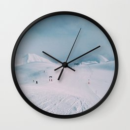 Skiing in the Alps Wall Clock