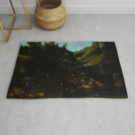 "Gustave Courbet ""Cascade in a Rocky Landscape"" Rug"