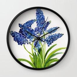 Watercolour Grape Hyacinth Wall Clock