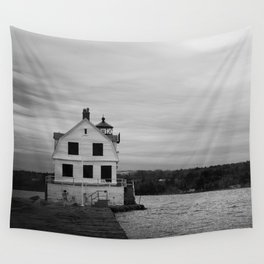 Black and White Breakwater Lighthouse Wall Tapestry