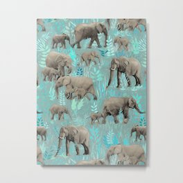 Sweet Elephants in Soft Teal Metal Print