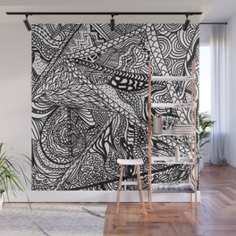 Black white Abstract Paisley doodle geometric pattern Wall Mural