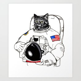 Astronomically Curious Cat Art Print