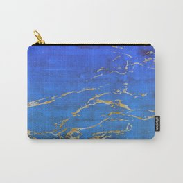 Sky Blue Marble With 24-Karat Gold Nugget Veins Carry-All Pouch