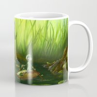 neil gaiman Mugs featuring Solitude through the leaves, by Neil Price by Neil Price