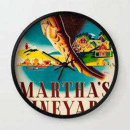 Martha's Vineyard Island Travel Advertising Poster Wall Clock