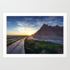 Sunrise in the Badlands Art Print