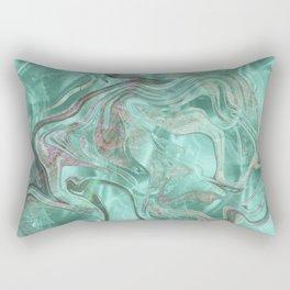 Mint Gem Green Marble Swirl Rectangular Pillow