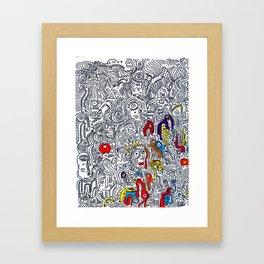 Pattern Doddle Hand Drawn  Black and White Colors Street Art Framed Art Print